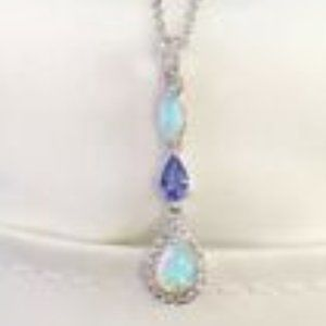 Sterling Silver Lab-Created Opal & White Sapphire